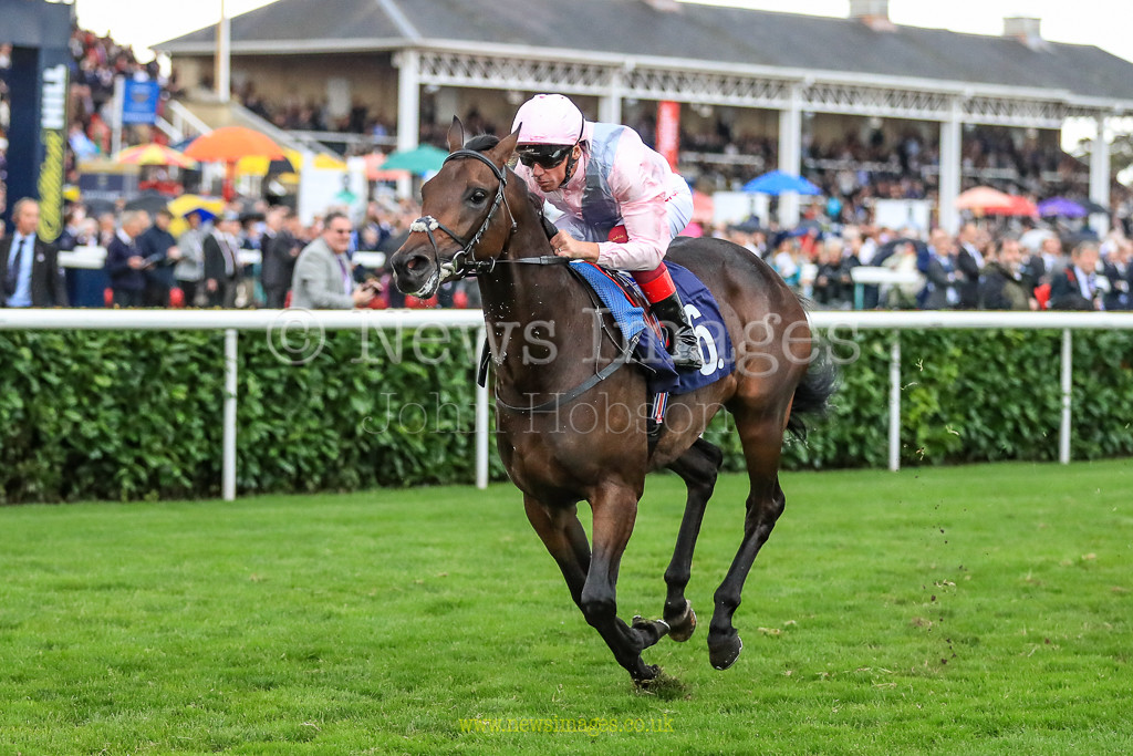 15th September 2018, Doncaster Racecourse, Doncaster, England; 2018 St Leger Festival William Hill St Leger Day, Howcroft Industrial Supplies Champagne Stakes (Group 2), Too Darn Hot, ridden by L Dettori wins the 15.00