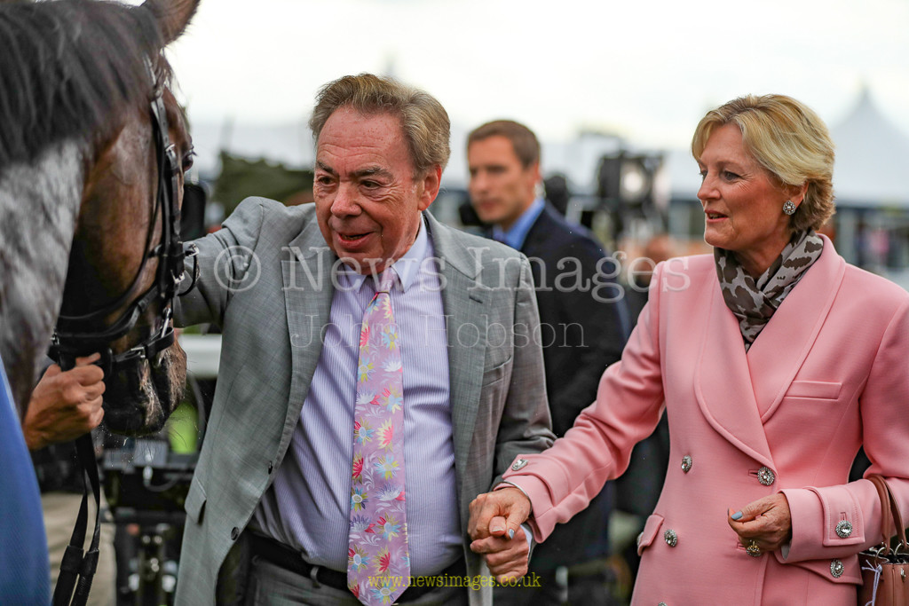 15th September 2018, Doncaster Racecourse, Doncaster, England; 2018 St Leger Festival William Hill St Leger Day, 15.00, Howcroft Industrial Supplies Champagne Stakes (Group 2), Lord & Lady Webber congratulate Too Darn Hot