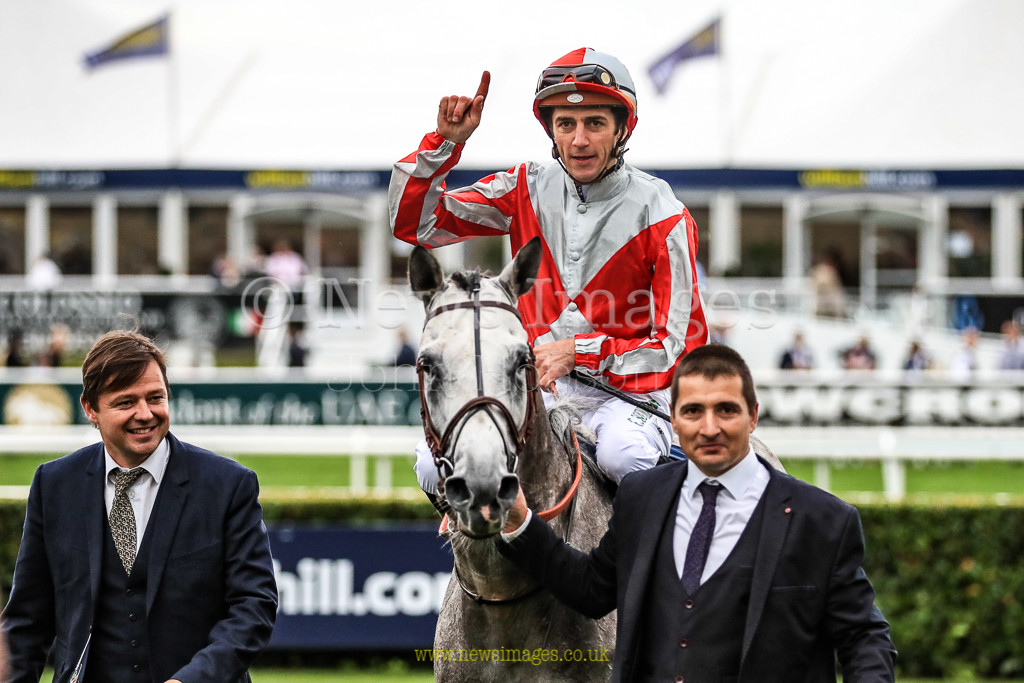15th September 2018, Doncaster Racecourse, Doncaster, England; 2018 St Leger Festival William Hill St Leger Day, 17.20, President of the UAE Cup, (UK Arabian Derby) Group 1 PA, Abiyah Athbah ridden by Racheal Kneller enter the winners enclosure after winning The President of the UAE cup